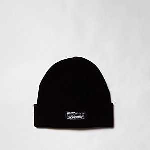 Black knit turn-up hem beanie hat