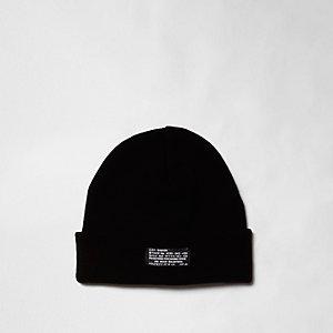 Black knit turn-up hem beanie hat
