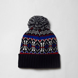 Navy Fairisle knit bobble beanie hat