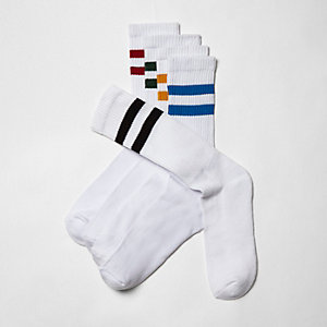 White multi color tube socks multipack