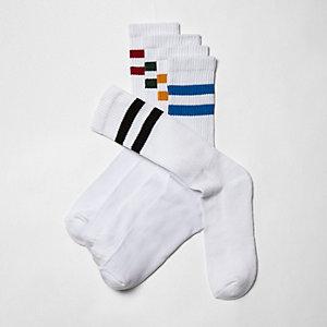 Lot de chaussettes blanches à rayures multicolores