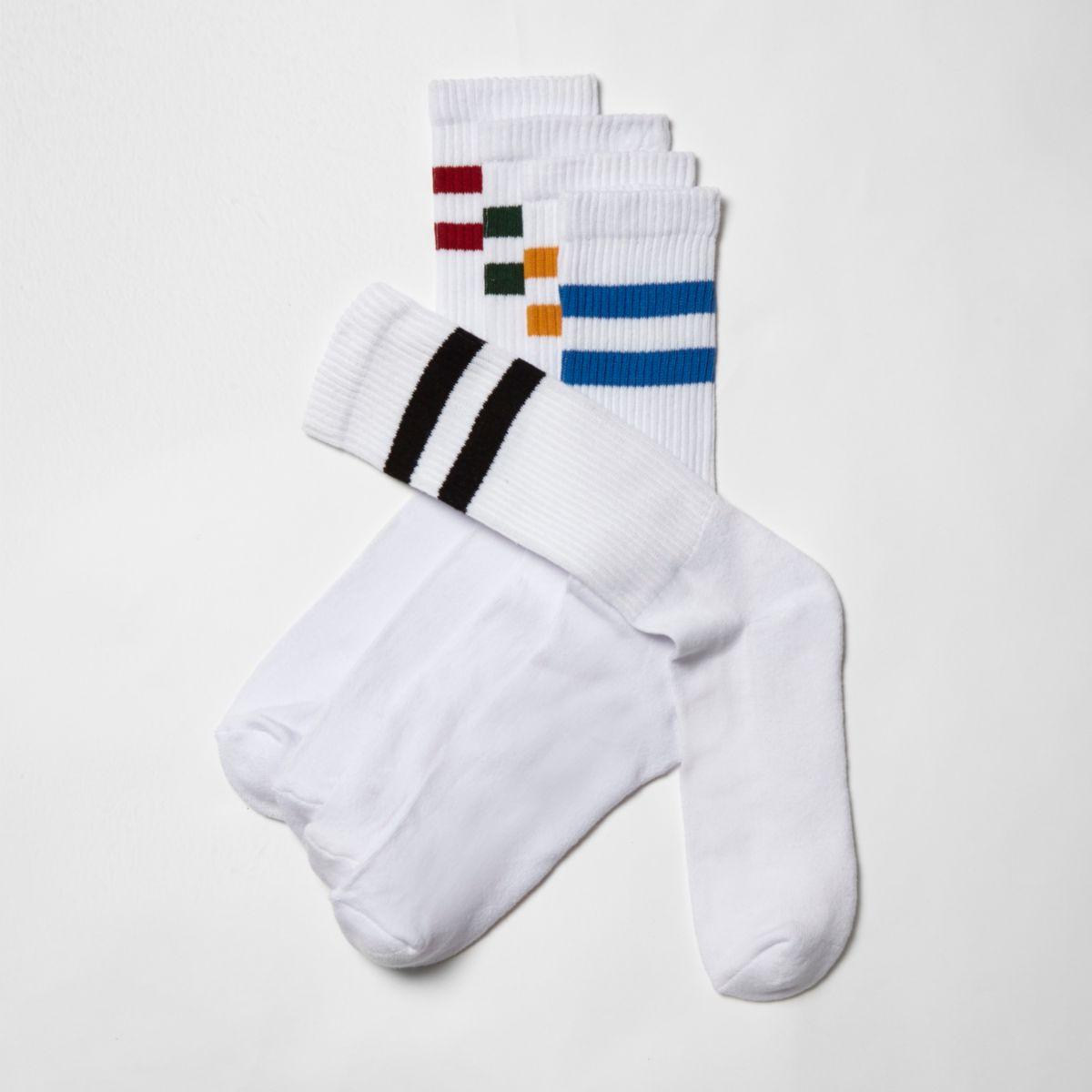 White multi color tube socks multipack
