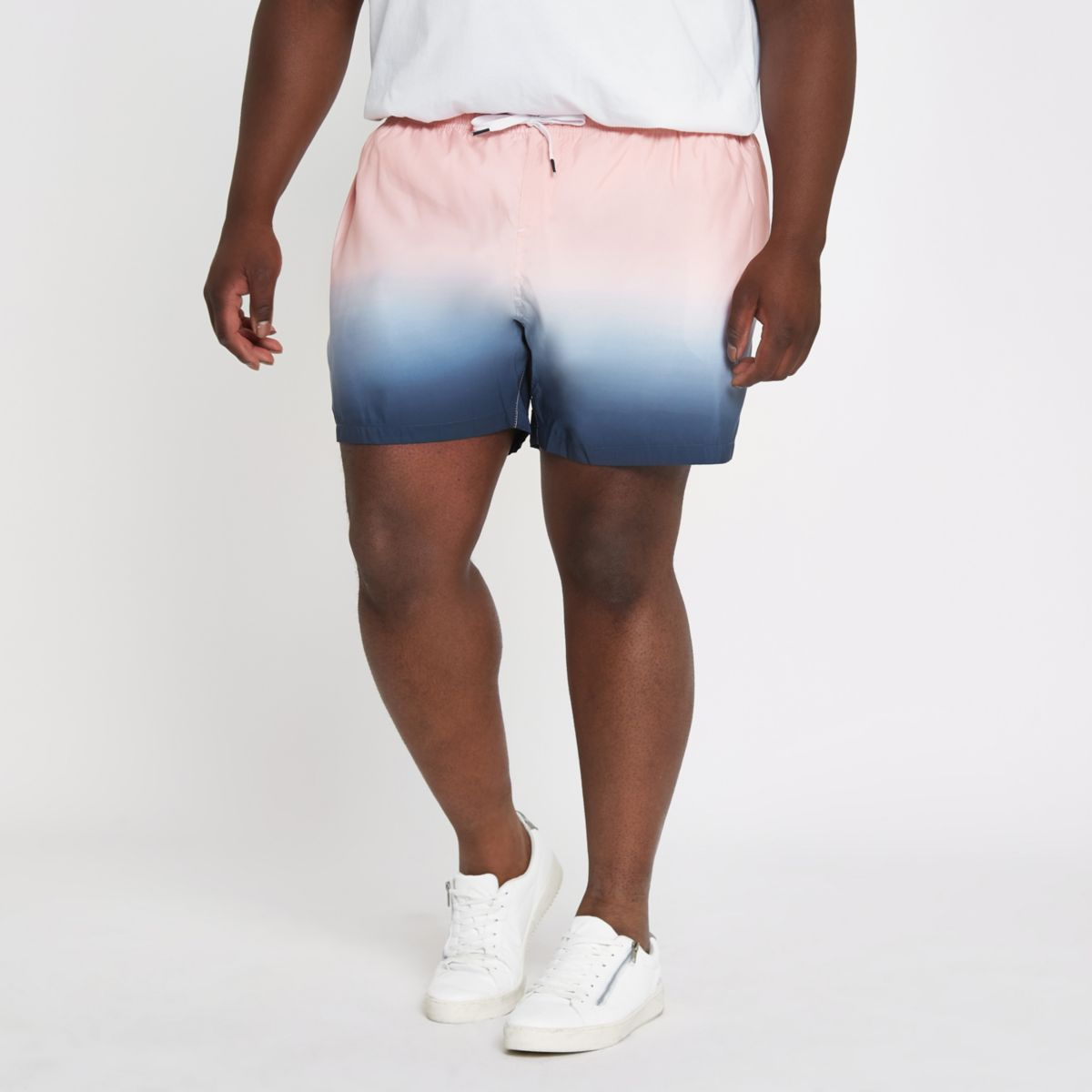 Big and Tall pink and blue dip dye swim short