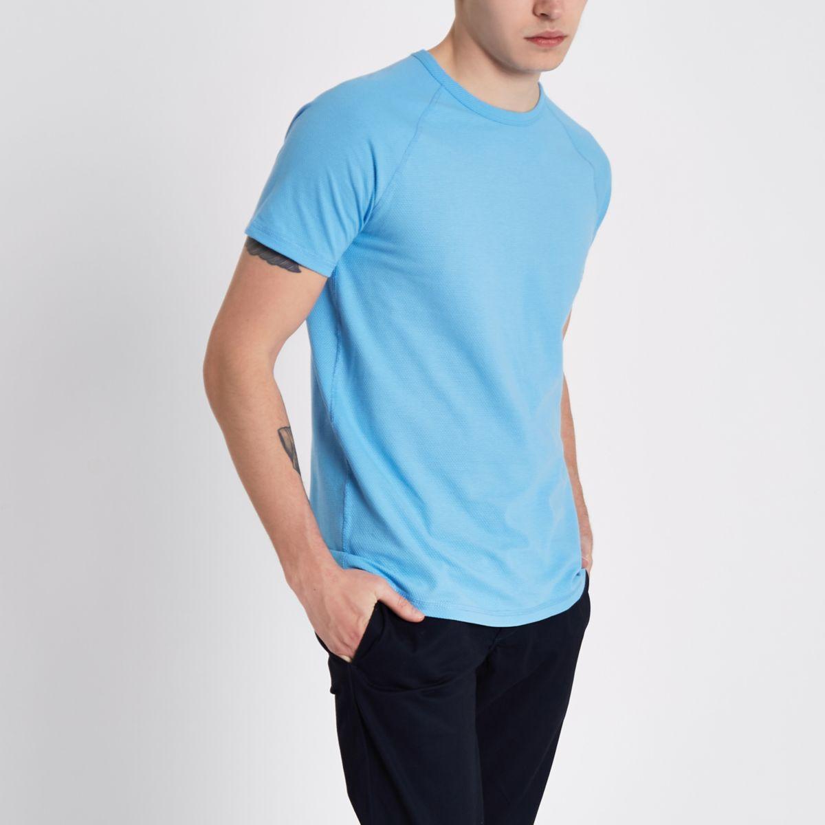 Light blue slim fit textured pique T-shirt