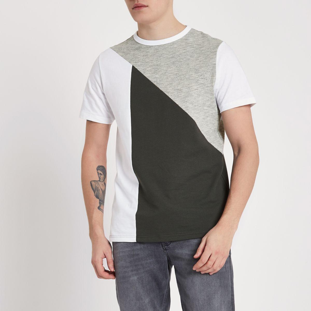 Grey textured panel slim fit T-shirt