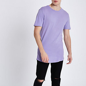 Lilac purple crew neck curved hem T-shirt