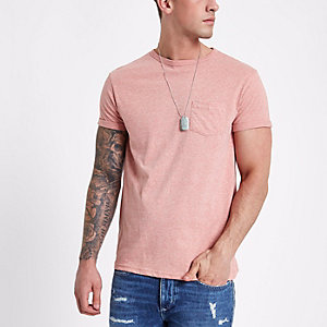 Pink marl rolled sleeve crew neck T-shirt