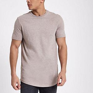 Lichtbruin T-shirt met ronde zoom