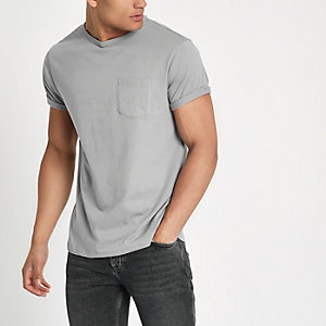 Light grey chest pocket short sleeve T-shirt