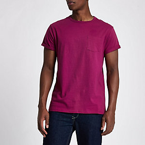T-shirt ras-du-cou rose à poche