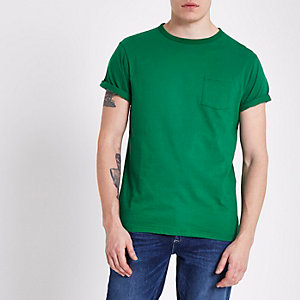 Green rolled sleeve pocket T-shirt