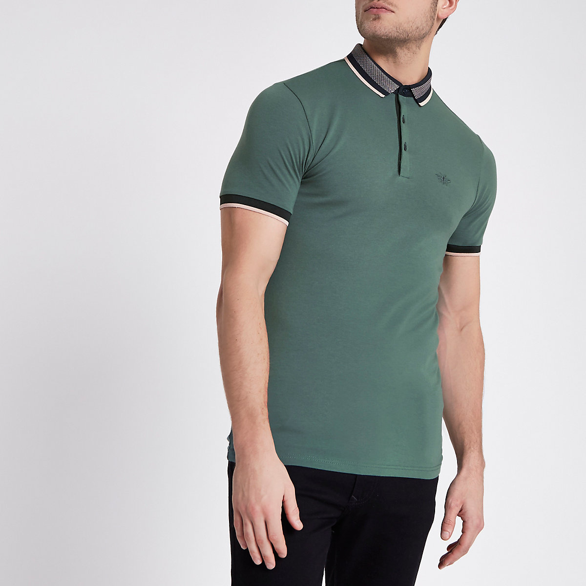 Green muscle fit tipped polo shirt