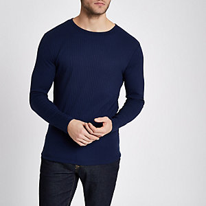 T-shirt slim bleu foncé côtelé