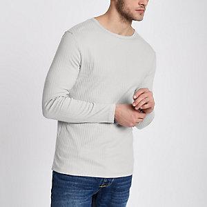 Hellgraues Slim Fit T-Shirt