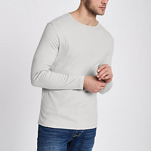 T-shirt slim gris clair côtelé