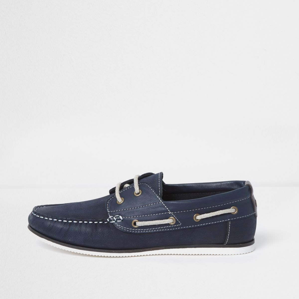 Chaussures Bateau En Cuir Bleu Marine fR072RuMDF