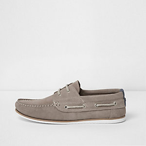 Grey suede lace-up boat shoes
