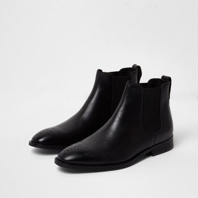Black Leather Brogue Chelsea Boots by River Island