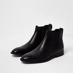 Bottines chelsea style richelieu en cuir noir
