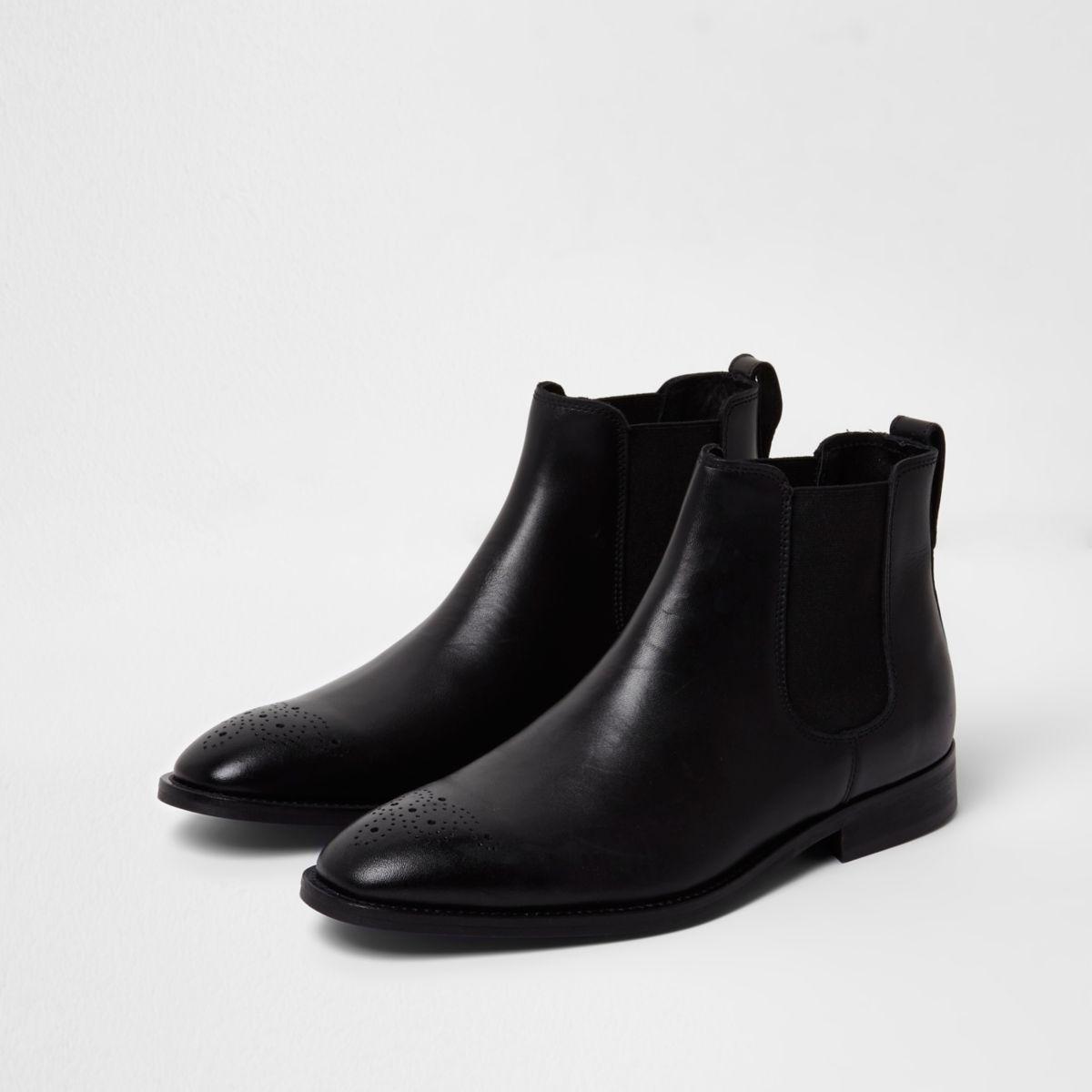 Zwarte leren brogue chelsea boots