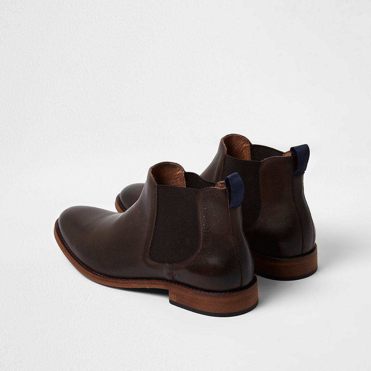 Dark brown leather chelsea boots