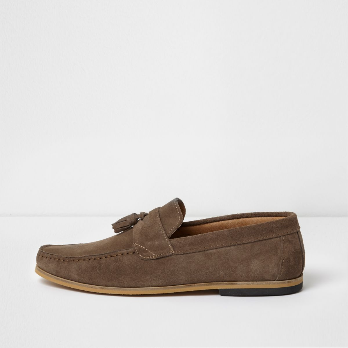 Suede Slip On&Nbsp Loafers River Island Tan Men Necessary