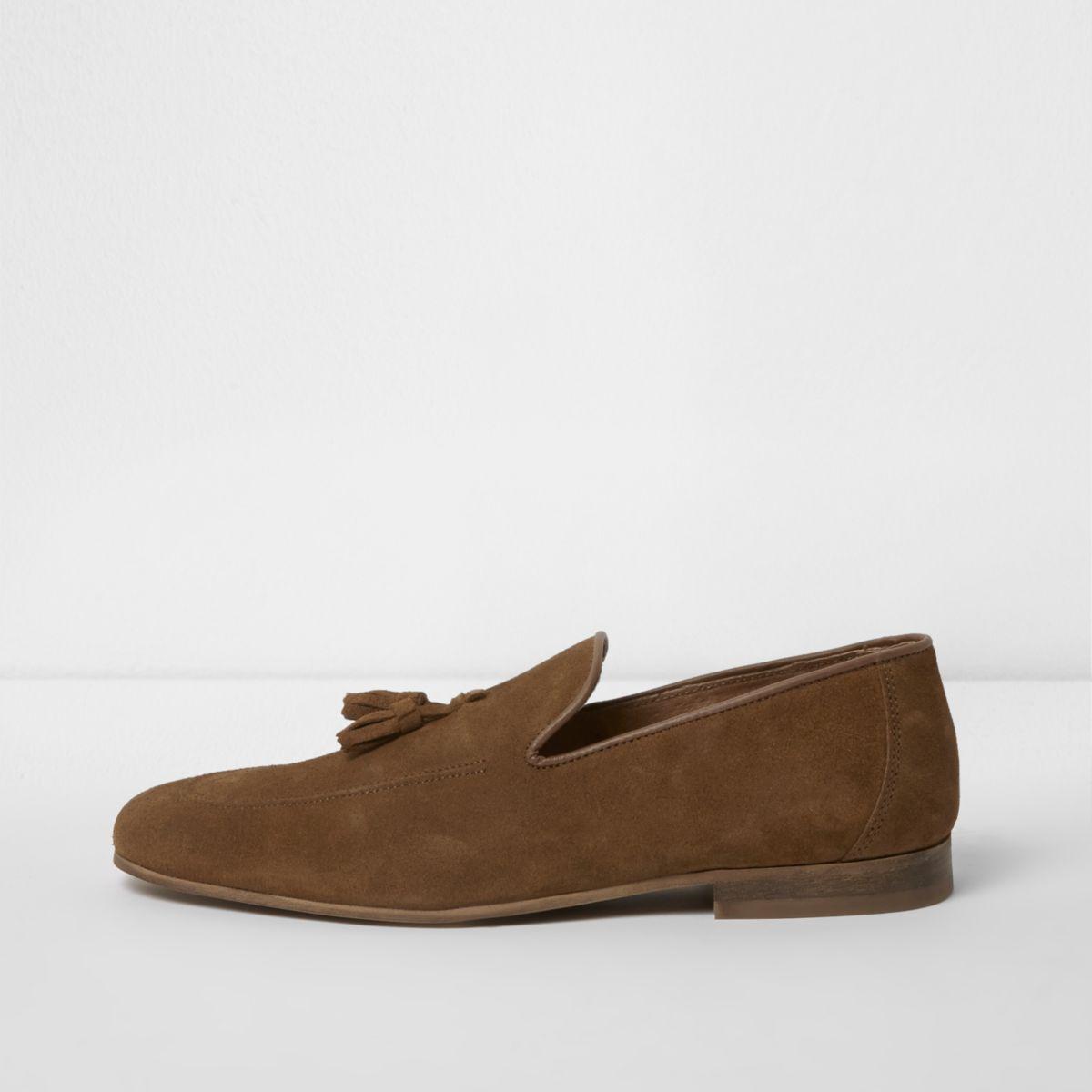 Tan brown suede tassel loafers