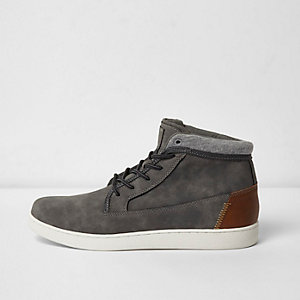 Grey faux suede hi top sneakers