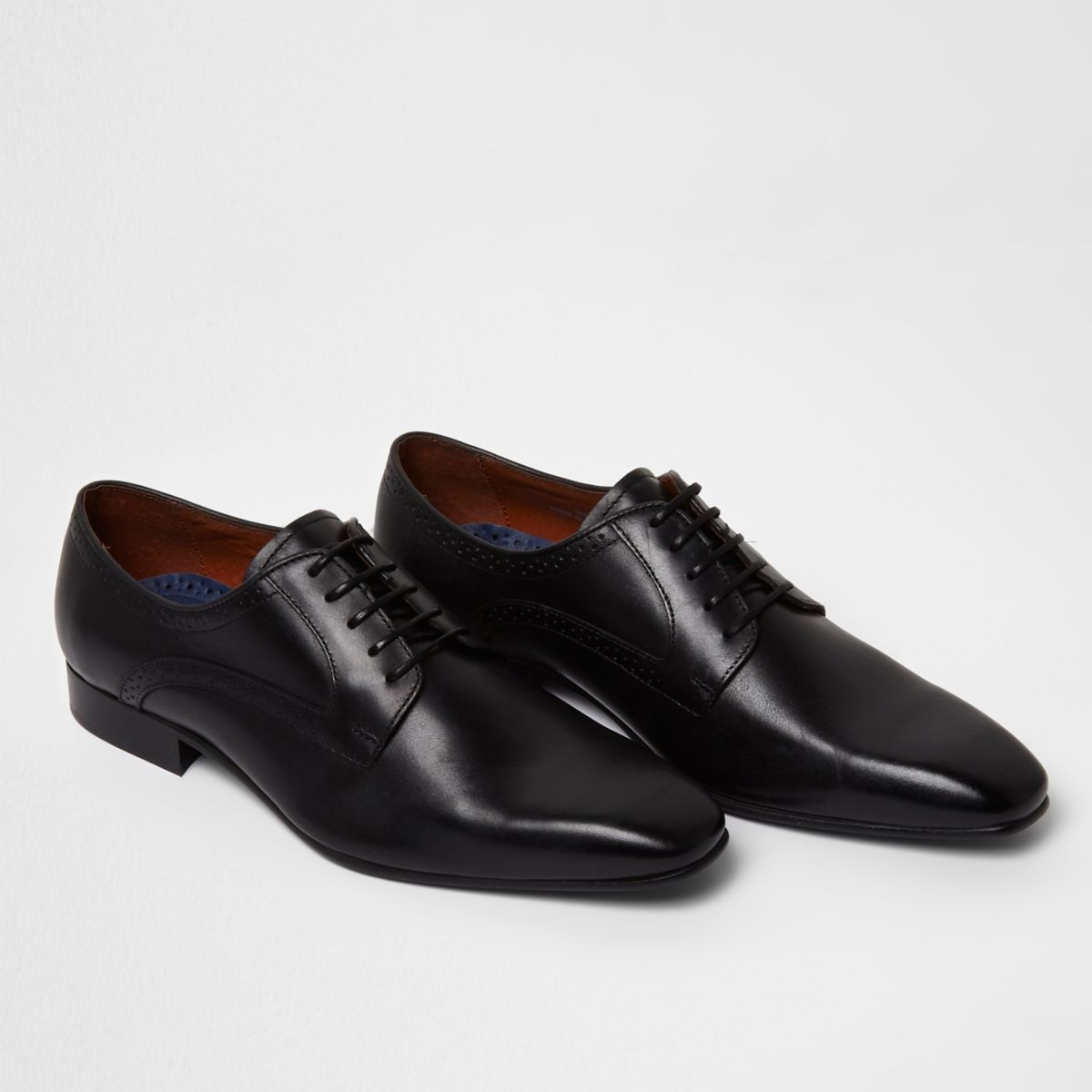 Mens Blacks square toe leather derby shoes River Island
