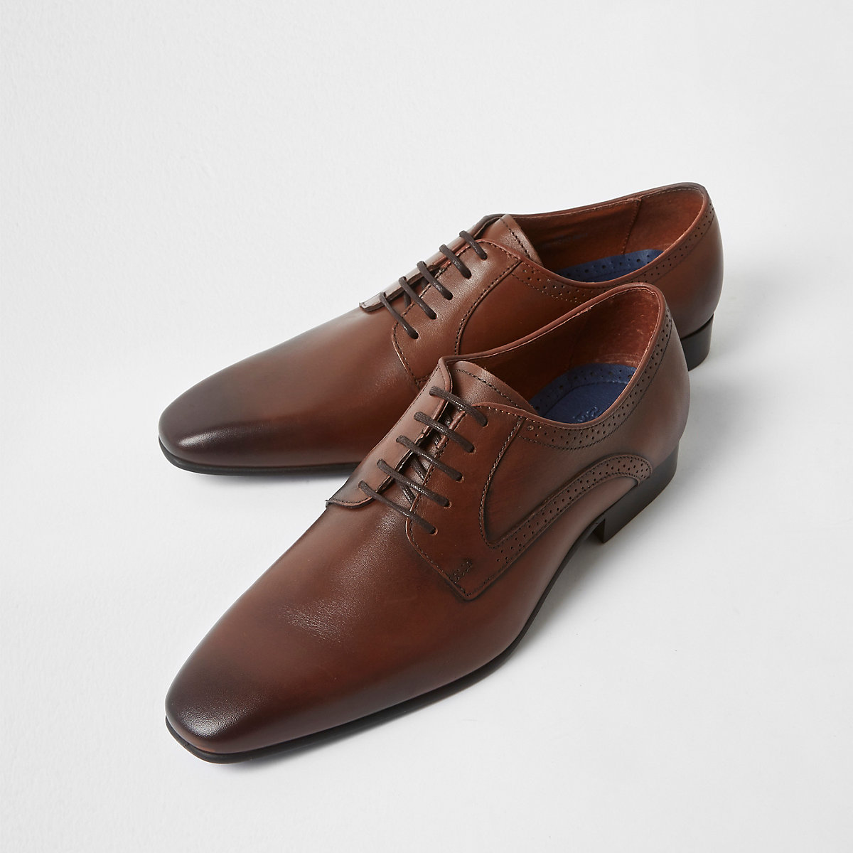 Brown square toe leather derby shoes