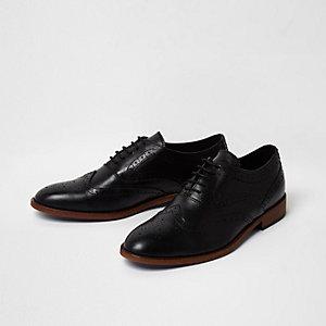 Schwarze Brogue-Oxford-Lederschuhe zum Schnüren