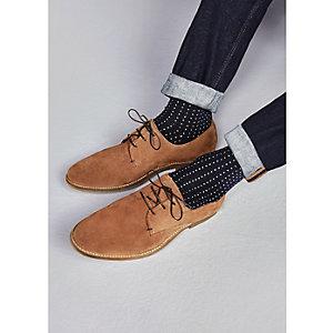Tan suede derby shoes