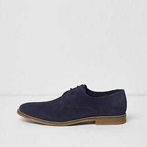 Chaussures derby en daim bleu marine