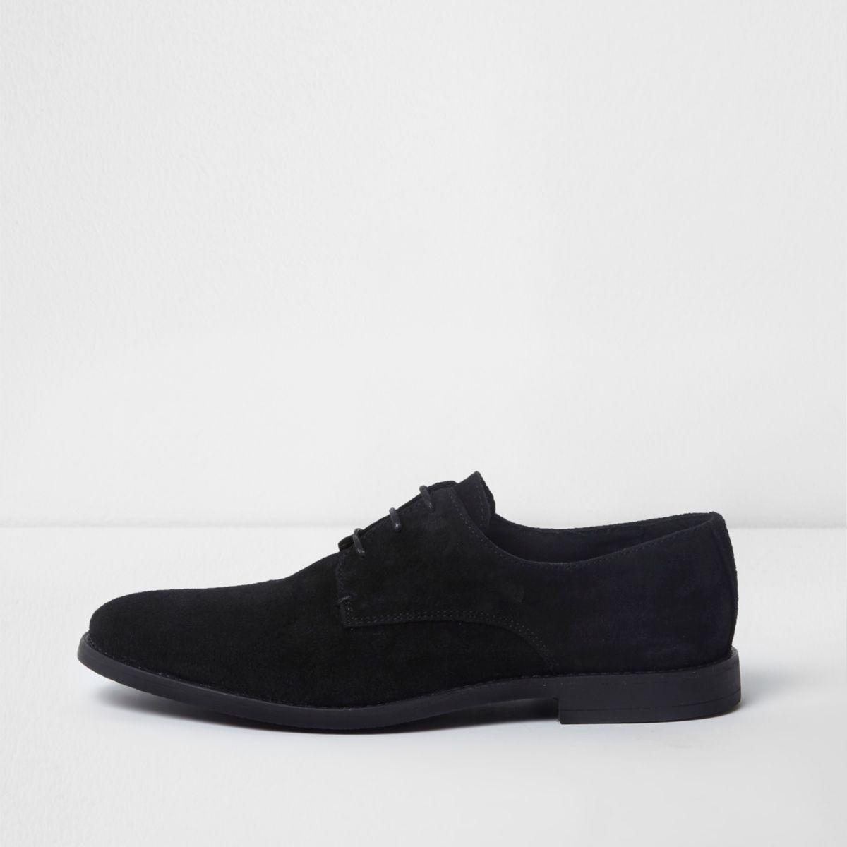 Schwarze Derby-Schuhe aus Wildleder