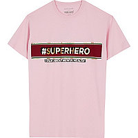 Pink 'superhero' The Mix charity T-shirt