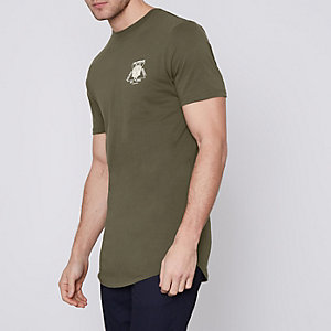 "Langes T-Shirt ""Amsterdam"" in Khaki"
