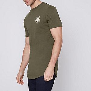 Kakigroen lang slim-fit overhemd met 'Amsterdam'-print