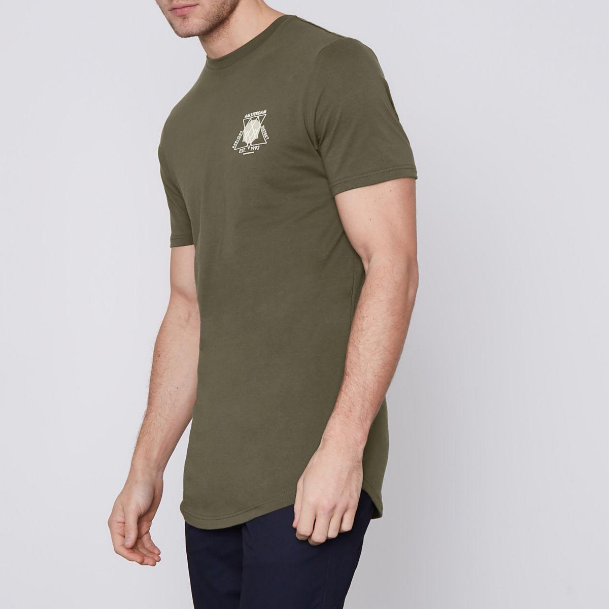 Khaki green 'Amsterdam' slim longline T-shirt