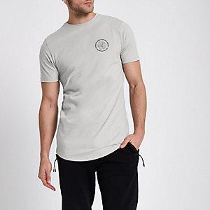 Grijs slim-fit T-shirt met 'notorious'-print op de borst