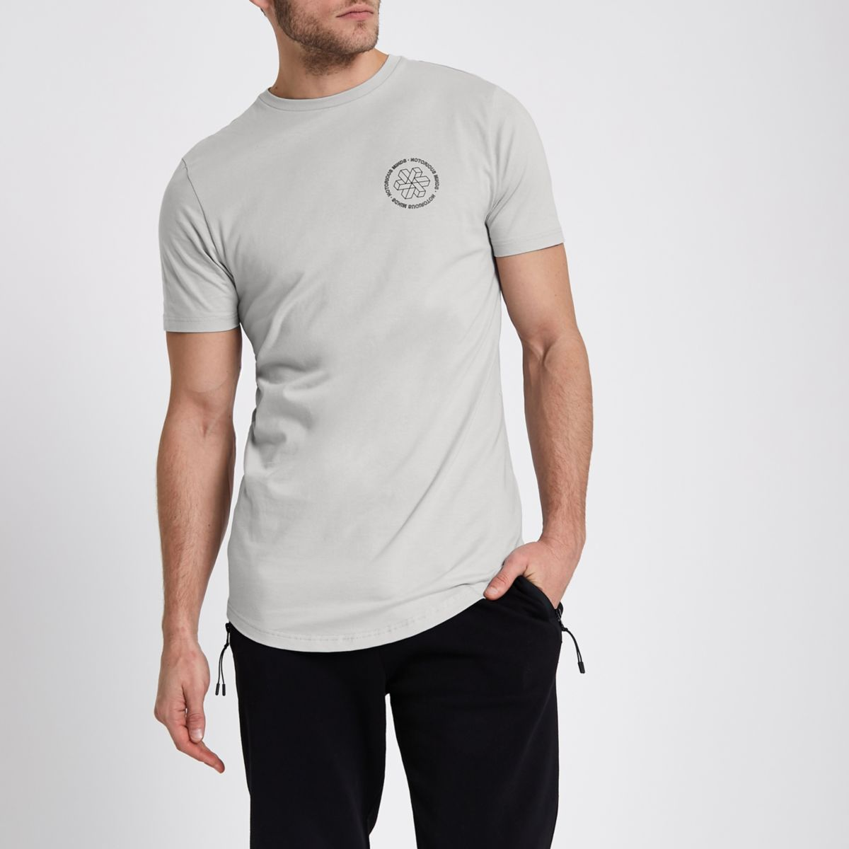 Grey 'notorious' chest print slim fit T-shirt