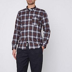 Braunes Oxford-Hemd mit Buttondown-Kragen