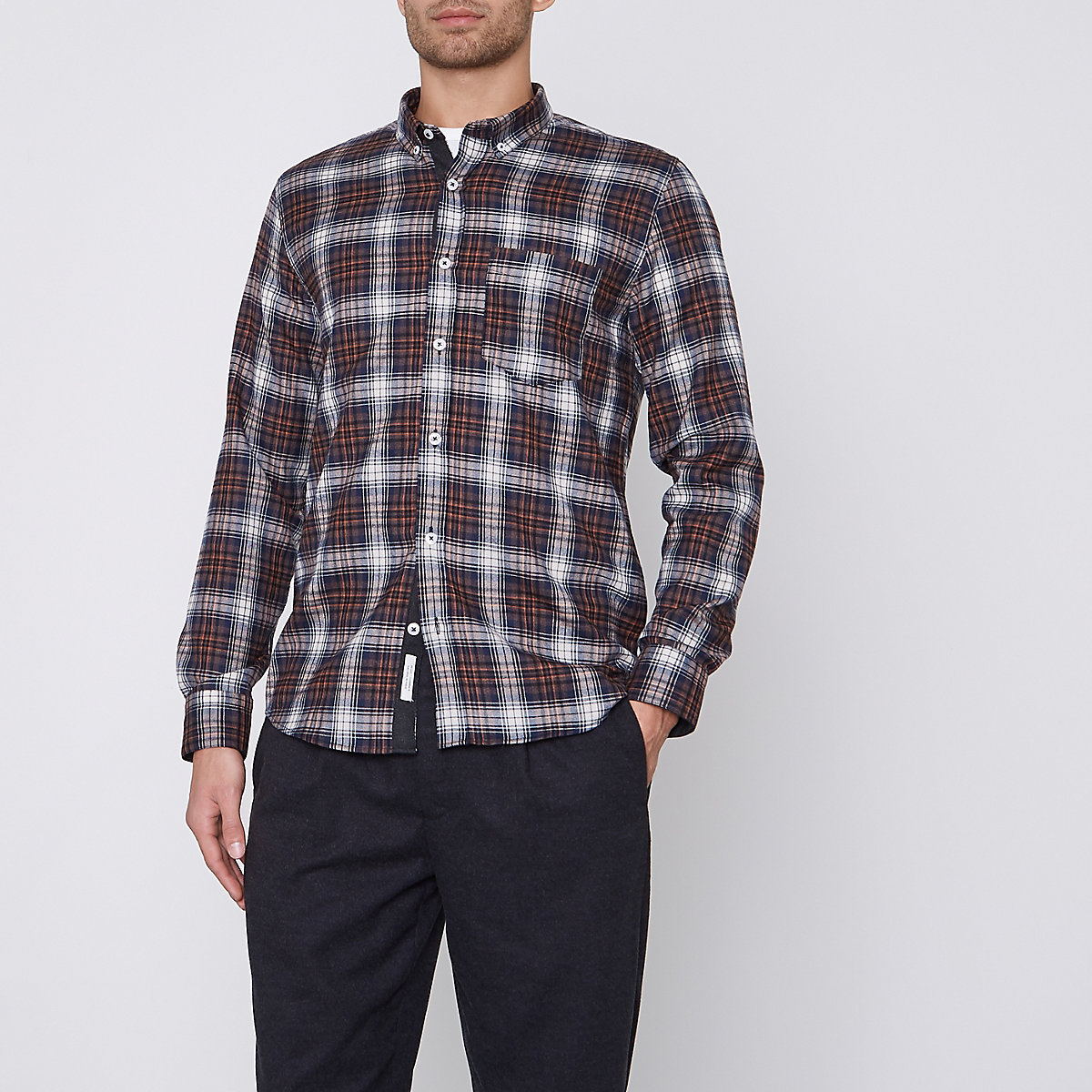 Brown check button-down Oxford shirt