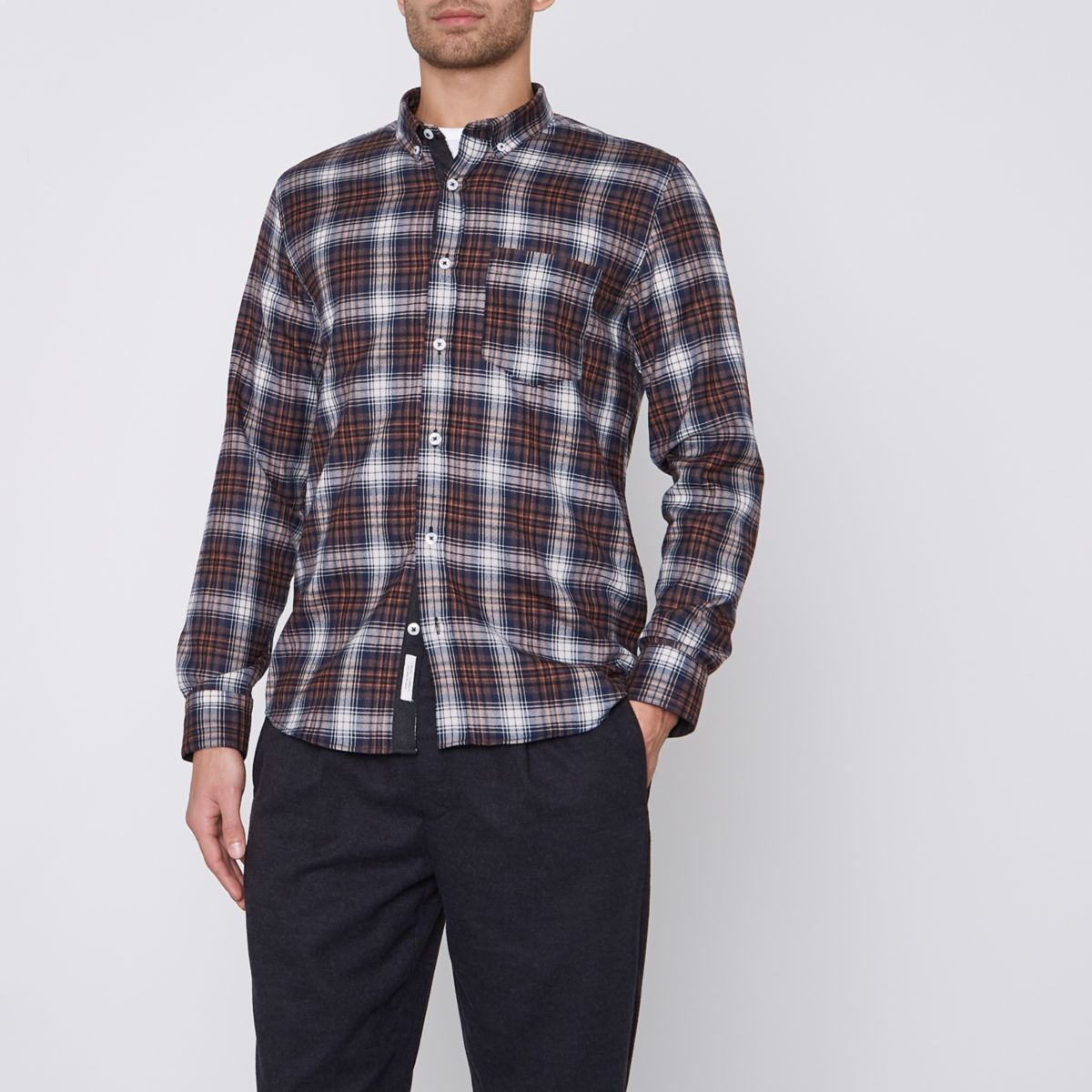 Brown check button-down Oxford shirt