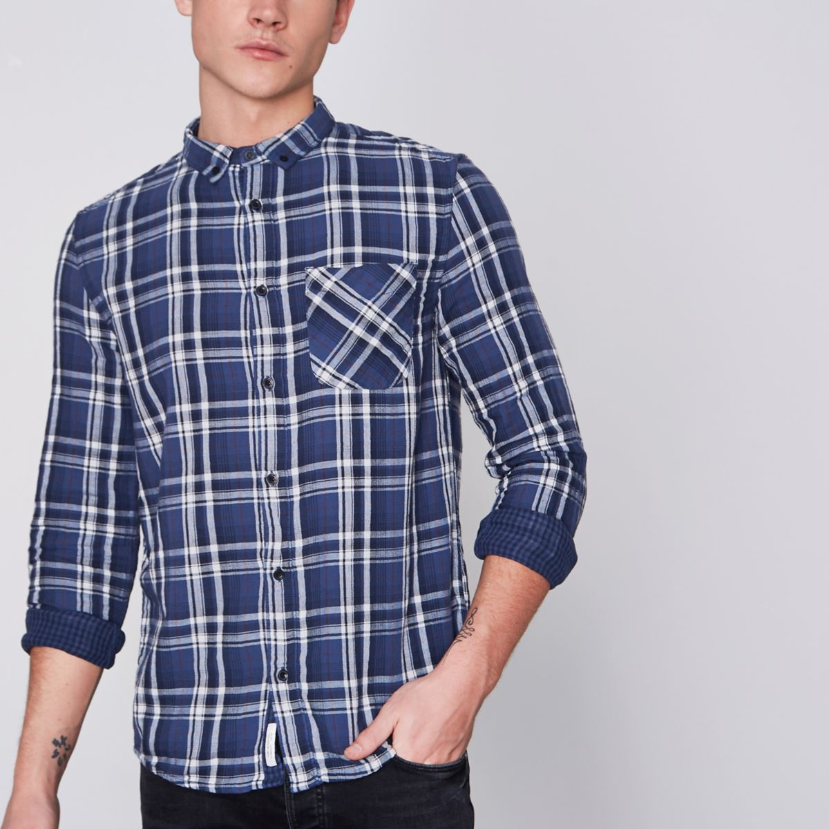 Navy check long sleeve button-down shirt