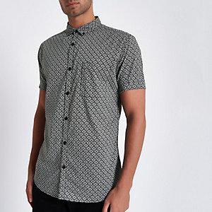 Grijs slim-fit overhemd met tegelprint en korte mouwen