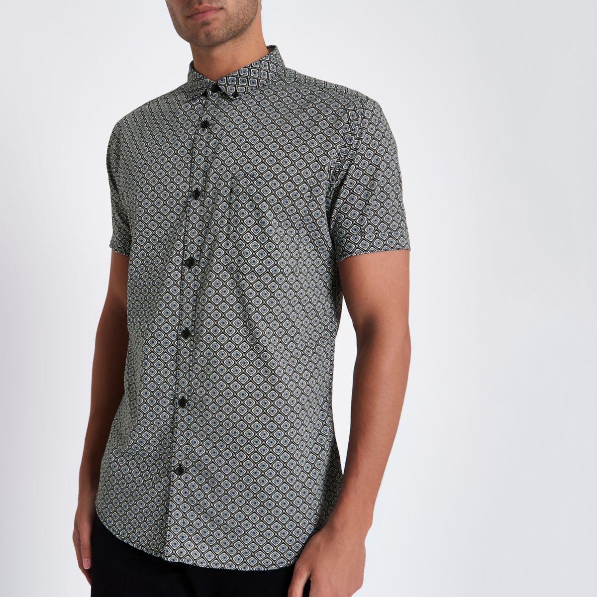 Grey tile print slim fit short sleeve shirt