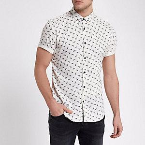 Crème slim-fit overhemd met korte mouwen en veer