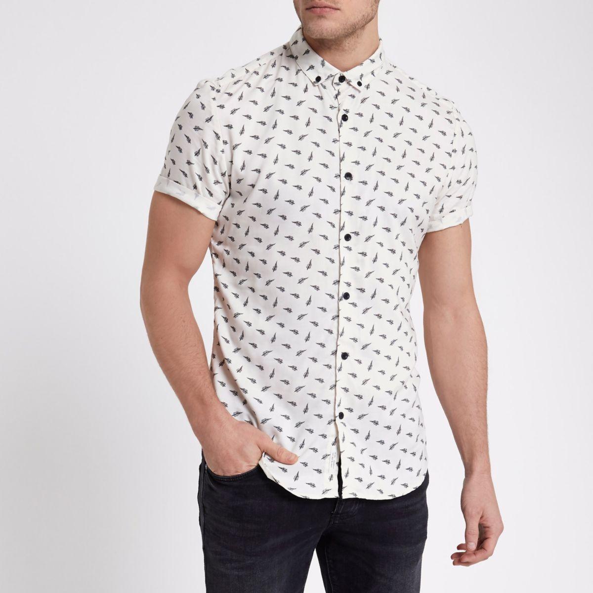 Slim Fit Kurzarmhemd mit Federmotiv