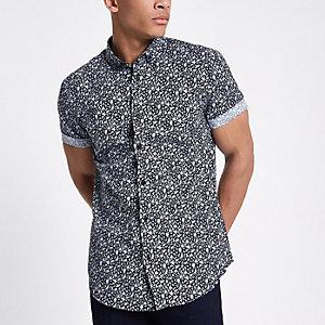 Marineblauw slim-fit overhemd met bloemenprint en korte mouwen
