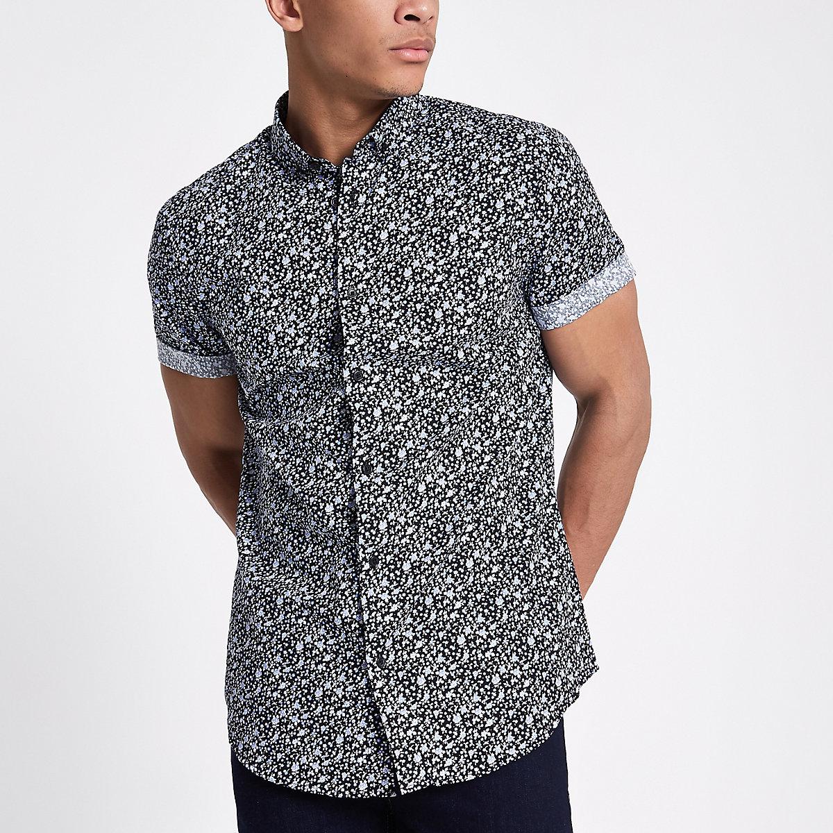 Navy ditsy floral short sleeve slim fit shirt